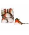 Kerstboom decoratie vogeltjes wit oranje 9 cm 12 stuks