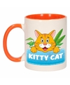 Kinder katten mok beker kitty cat oranje wit 300 ml