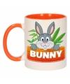 Kinder konijnen mok beker bunny oranje wit 300 ml