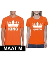 Koningsdag koppel king queen t shirt oranje maat m