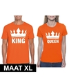 Koningsdag koppel king queen t shirt oranje maat xl