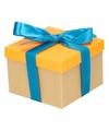 Neon oranje cadeaudoosje 15 cm met blauwe strik