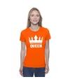 Oranje koningsdag shirt met kroon dames