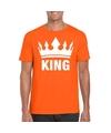 Oranje koningsdag shirt met kroon heren