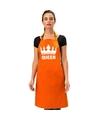 Oranje queen keukenschort bbq schort met kroon heren