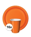Oranje tafeldecoratie set 16 bekertjes en 16 bordjes