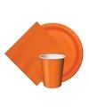 Oranje tafeldecoratie set 8 bordjes 8 bekertjes 20 servetten