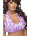 Haltertop met paarse Hawaii bloemen