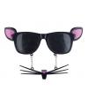 Zwarte muizen zonnebril met oren en snor