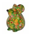 Spaarpot muis groen met fruit print 17 cm