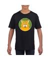 T shirt zwart met oranje kat kinderen