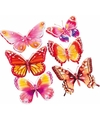 Vlinder stickers set roze oranje 3d