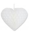 Bruiloft decoratie hart wit 28 x 32 cm