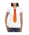 Wit t shirt met oranje stropdas dames