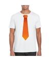 Wit t shirt met oranje stropdas heren