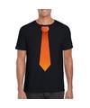 Zwart t shirt met oranje stropdas heren
